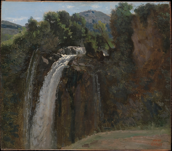 Waterfall at Terni, Camille Corot (French, Paris 1796–1875 Paris), Oil on paper, laid down on wood