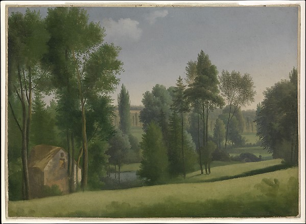 View in a Park, Alexandre Hyacinthe Dunouy (French, Paris 1757–1841 Jouy-en-Josas), Oil on paper, laid down on ledger paper