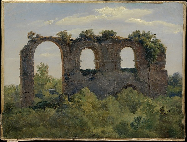 A Section of the Claudian Aqueduct, Rome, André Giroux (French, Paris 1801–1879 Paris), Oil on paper, laid down on canvas