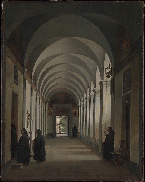 Monks in the Cloister of the Church of Gesù e Maria, Rome, François Marius Granet (French, Aix-en-Provence 1775–1849 Aix-en-Provence), Oil on canvas