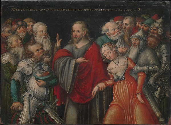 Christ and the Adulteress, Lucas Cranach the Younger and Workshop (German, Wittenberg 1515–1586 Wittenberg), Oil on beech
