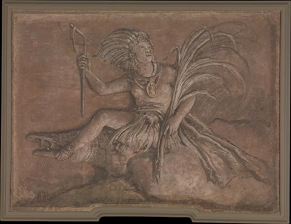 America, Giovanni Domenico Tiepolo (Italian, Venice 1727–1804 Venice), Fresco, transferred to canvas