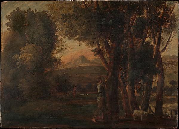 Landscape with Erminia, Claude Lorrain (Claude Gellée) (French, Chamagne 1604/5?–1682 Rome), Oil on wood