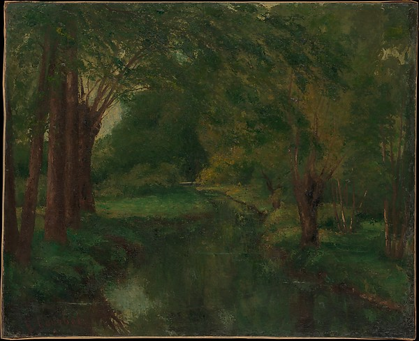"""A Brook in a Clearing (possibly """"Brook, Valley of Fontcouverte; Study""""), Gustave Courbet (French, Ornans 1819–1877 La Tour-de-Peilz), Oil on canvas"""