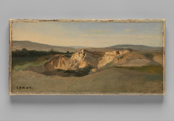 Italian Landscape, Camille Corot (French, Paris 1796–1875 Paris), Oil on paper, laid down on canvas