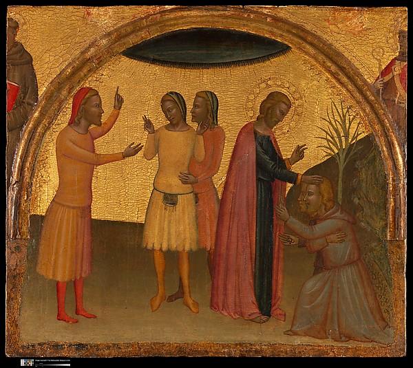 Saint John the Evangelist with Acteus and Eugenius, Francescuccio Ghissi (Francesco di Cecco Ghissi) (Italian, Marchigian, active 1359–74), Tempera on wood, gold ground