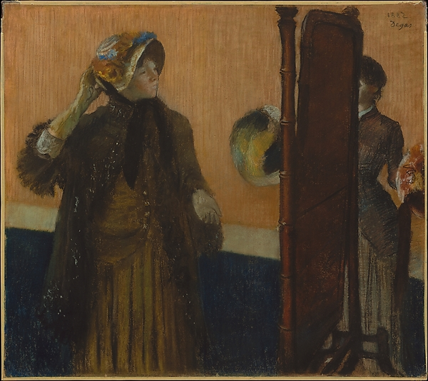 At the Milliner's, Edgar Degas (French, Paris 1834–1917 Paris), Pastel on pale gray wove paper (industrial wrapping paper), laid down on silk bolting