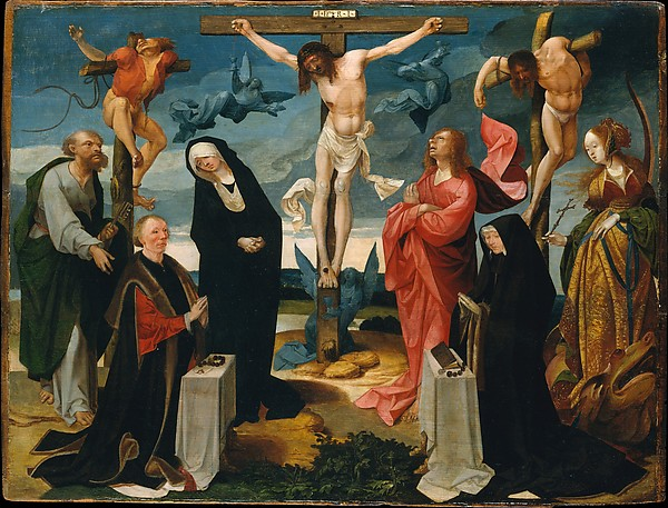 The Crucifixion with Donors and Saints Peter and Margaret, Cornelis Engebrechtsz (Netherlandish, ca. 1461–1527), Oil on wood