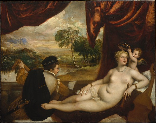 Venus and the Lute Player, Titian (Italian, Pieve di Cadore ca. 1485/90?–1576 Venice) and Workshop, Oil on canvas