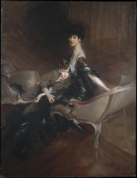 Consuelo Vanderbilt (1876–1964), Duchess of Marlborough, and Her Son, Lord Ivor Spencer-Churchill (1898–1956), Giovanni Boldini (Italian, Ferrara 1842–1931 Paris), Oil on canvas
