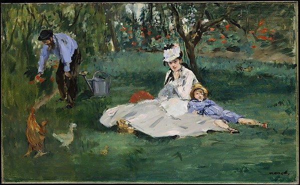 The Monet Family in Their Garden at Argenteuil, Édouard Manet (French, Paris 1832–1883 Paris), Oil on canvas