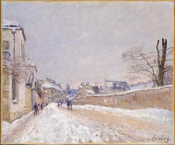 Rue Eugène Moussoir at Moret: Winter, Alfred Sisley (British, Paris 1839–1899 Moret-sur-Loing), Oil on canvas