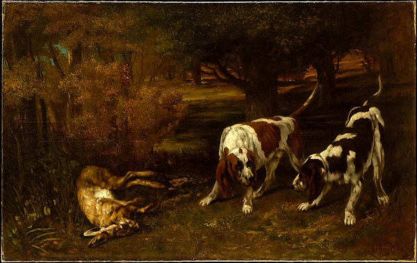 Hunting Dogs with Dead Hare, Gustave Courbet (French, Ornans 1819–1877 La Tour-de-Peilz), Oil on canvas