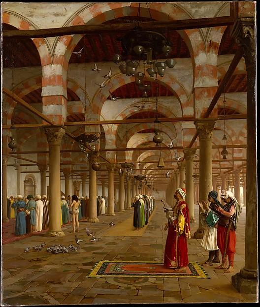 Prayer in the Mosque, Jean-Léon Gérôme (French, Vesoul 1824–1904 Paris), Oil on canvas