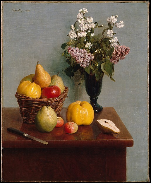 Still Life with Flowers and Fruit, Henri Fantin-Latour (French, Grenoble 1836–1904 Buré), Oil on canvas