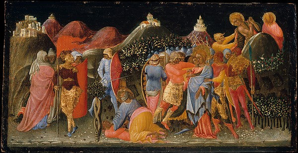 The Betrayal of Christ, Bartolomeo di Tommaso (Italian, Umbrian, active by 1425–died 1453/54), Tempera on wood