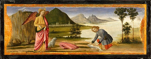 Tobias and the Angel, Davide Ghirlandaio (David Bigordi) (Italian, Florence 1452–1525 Florence), Tempera and gold on wood