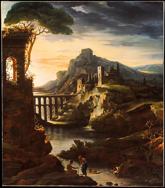 Evening: Landscape with an Aqueduct, Théodore Gericault (French, Rouen 1791–1824 Paris), Oil on canvas