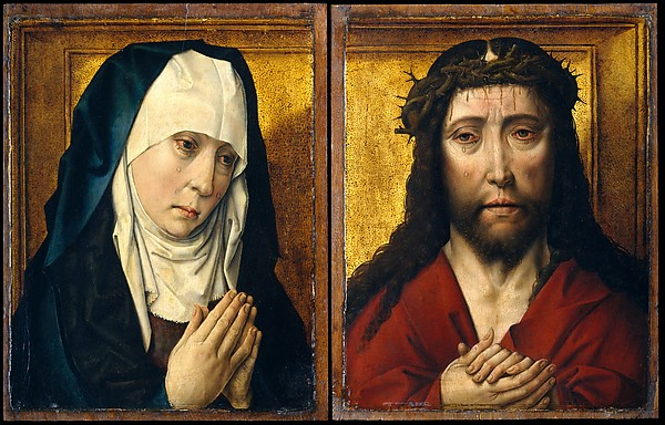 The Mourning Virgin; The Man of Sorrows, Posthumous Workshop Copy after Dieric Bouts (Netherlandish, Leuven, ca. 1525), Oil on oak