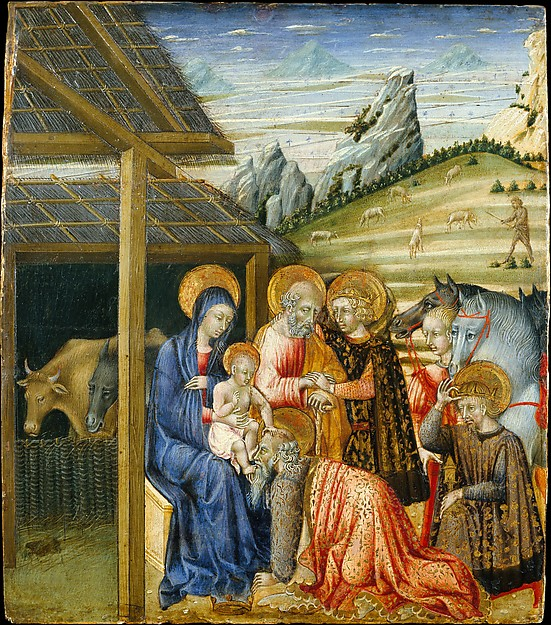 The Adoration of the Magi, Giovanni di Paolo (Giovanni di Paolo di Grazia) (Italian, Siena 1398–1482 Siena), Tempera and gold on wood