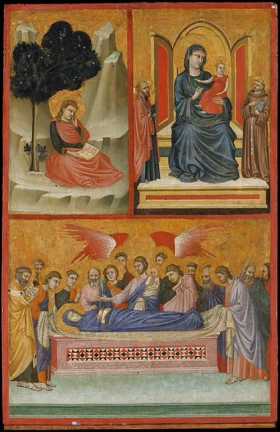 Saint John on Patmos, Madonna and Child Enthroned, and Death of the Virgin; The Crucifixion, Pacino di Bonaguida (Italian, active Florence 1302–ca. 1340), Tempera on wood, gold ground