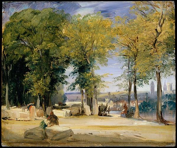 View near Rouen, Richard Parkes Bonington (British, Arnold, Nottinghamshire 1802–1828 London), Oil on millboard