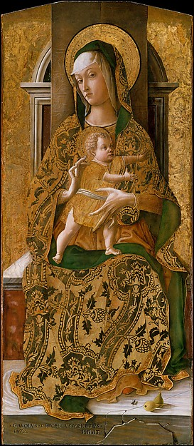 Madonna and Child Enthroned, Carlo Crivelli (Italian, Venice (?), active by 1457–died 1495 Ascoli Piceno), Tempera on wood, gold ground