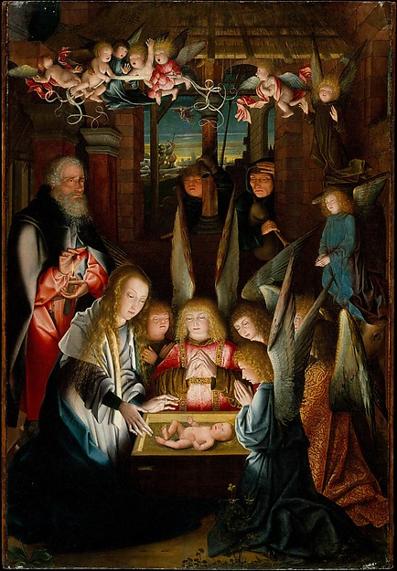 The Adoration of the Christ Child, Follower of Jan Joest of Kalkar (Netherlandish, active ca. 1515), Oil on wood