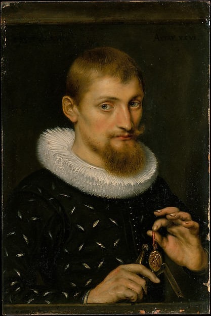 Portrait of a Man, Possibly an Architect or Geographer, Peter Paul Rubens (Flemish, Siegen 1577–1640 Antwerp), Oil on copper
