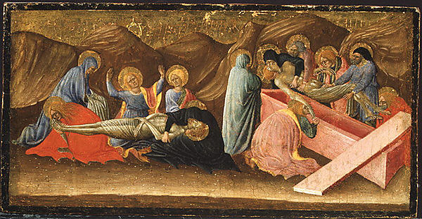 The Lamentation and the Entombment, Bartolomeo di Tommaso (Italian, Umbrian, active by 1425–died 1453/54), Tempera on wood, gold ground