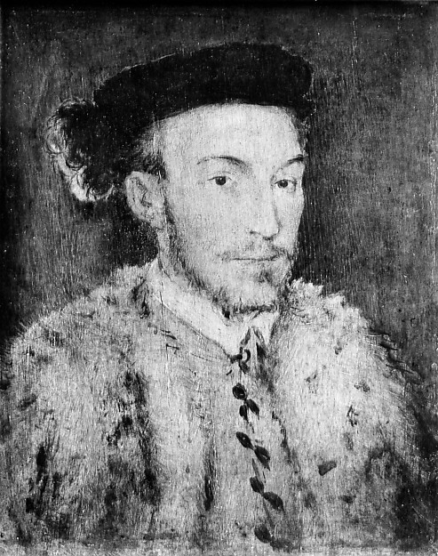 Portrait of a Man in a White Fur Coat, French Painter (second or third quarter 16th century), Oil on wood