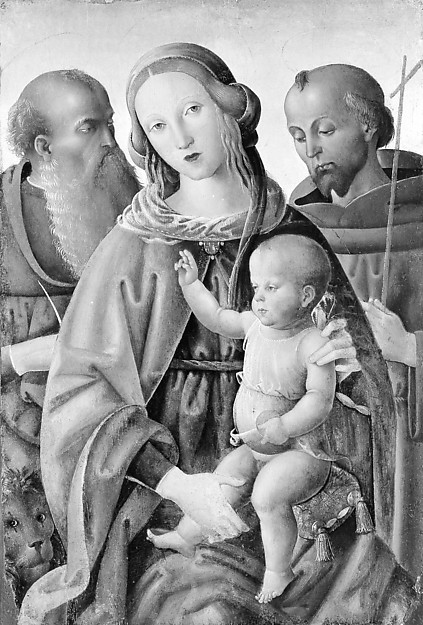 Madonna and Child with Saints Jerome and Francis, Italian (Umbrian) Painter (ca. 1500), Tempera on wood