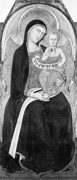 Madonna and Child, Luca di Tommè di Nuto (Italian, Sienese, active 1356–89), Tempera on wood, transferred from wood, gold ground