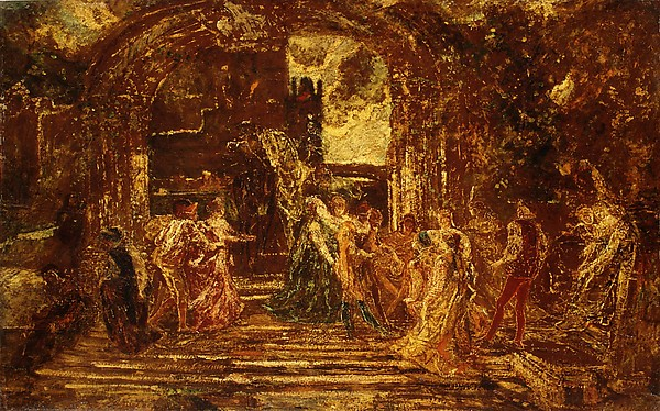 The Court of the Princess, Adolphe Monticelli (French, Marseilles 1824–1886 Marseilles), Oil on wood
