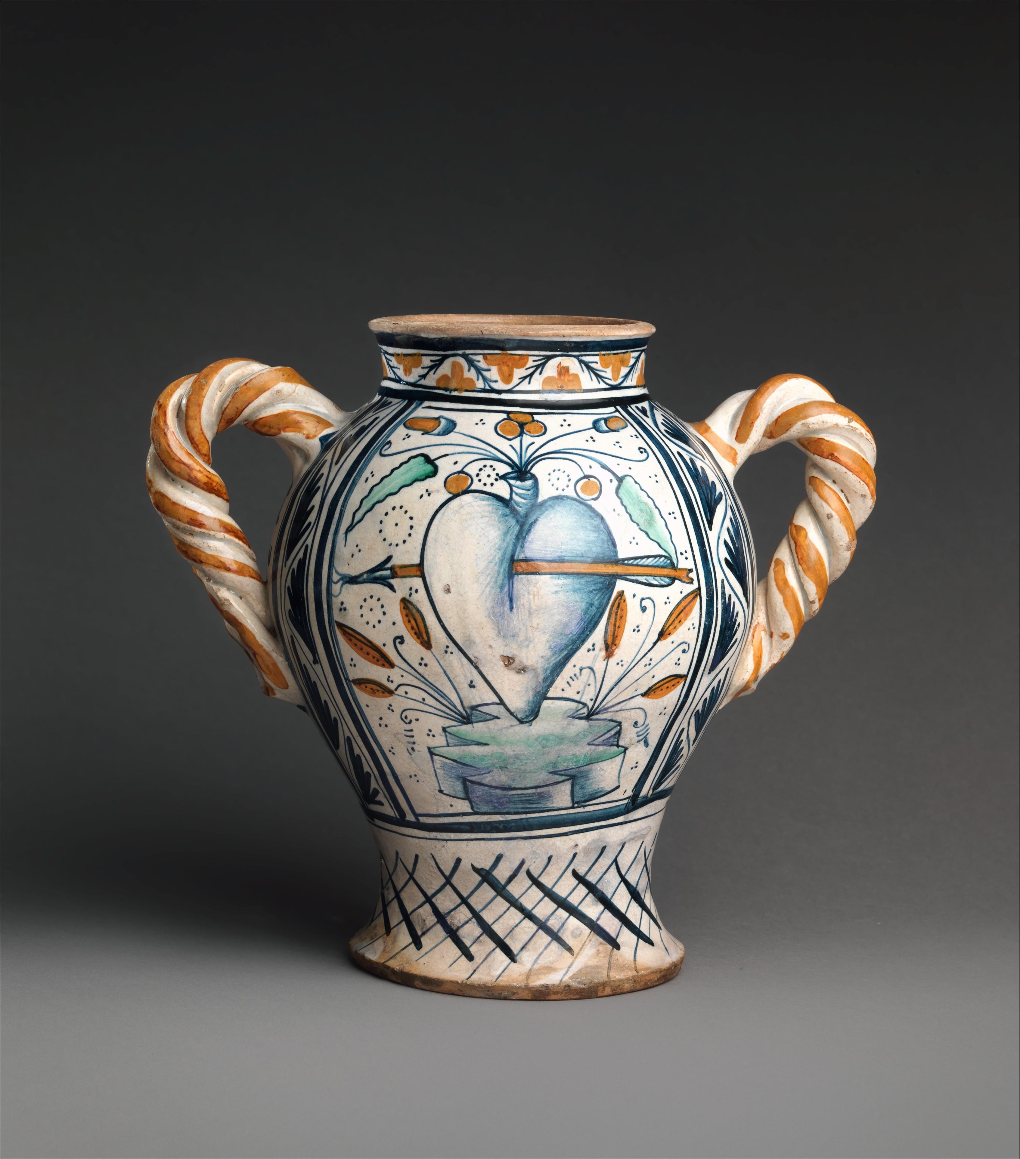 Metropolitan Museum Art Vase Flask Book Portuguese Blue White Motto Pottery Met