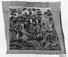 Six chair seat covers with the story of Rebecca, Silk and wool, British
