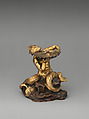 Triton with shell serving as saltcellar, Follower of Gian Lorenzo Bernini (Italian, Naples 1598–1680 Rome), Copper, parcel gilt and silver-gilt, Italian, Rome