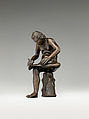 Spinario (Boy Pulling a Thorn from his Foot), Probably Workshop of Severo Calzetta da Ravenna (Italian, active by 1496, died before 1543), Bronze on green marble base, Italian, Padua or Ravenna