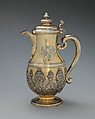 Jug with cover (one of a pair), Simon Pantin I (British, ca. 1672–1728), Silver gilt, British, London