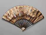 Fan, Paper, wood, ivory, feathers, and mother-of-pearl, Chinese