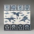 Tile, Christopher Dresser (British, Glasgow, Scotland 1834–1904 Mulhouse), Glazed earthenware, British, Stoke-on-Trent, Staffordshire