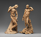 Pair of Standing Nude Male Figures Demonstrating the Principles of Contrapposto according to Michelangelo and Phidias, Auguste Rodin (French, Paris 1840–1917 Meudon), Terracotta, French