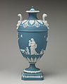 Vase with cover (one of a pair), Decoration after designs by John Flaxman (British, York 1755–1826 London), Jasperware, British, Etruria, Staffordshire
