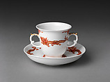 Chocolate cup and saucer with dragons and phoenixes, Meissen Manufactory (German, 1710–present), Hard-paste porcelain painted with colored enamels over transparent glaze, German, Meissen