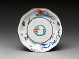 Dish with dragon, Hard-paste porcelain painted with colored enamels over transparent glaze (Hizen ware; Kakiemon type), Japanese, for European market