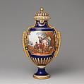 Vase with cover (vase à panneaux or à perles) (one of a pair), Sèvres Manufactory (French, 1740–present), Soft-paste porcelain, French, Sèvres