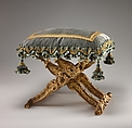 Folding stool (pliant) (one of a pair), Carved and gilded walnut; silk velvet with gold trim (not original), French, Paris