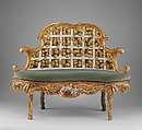 Settee (one of a pair) (part of a set), Attributed to Johann Michael Bauer (German, Westheim 1710–1779 Bamberg), Carved, painted and gilded linden wood; squab pillow in silk velvet (not original), German, Würzberg