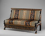 Settee, Designed by Sir Lawrence Alma-Tadema (British (born The Netherlands), Dronrijp 1836–1912 Wiesbaden), Ebony, box and sandalwood, cedar, ivory inlay, incrustations of mother-of-pearl and brass, British, London
