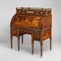 Rolltop desk, David Roentgen (German, Herrnhaag 1743–1807 Wiesbaden, master 1780), Oak, cherry, pine, mahogany, veneered with maple, burl woods, holly, hornbeam (all partially stained), tulipwood, mahogany, and other woods; mother-of-pearl; partially gilded and tooled leather; gilt bronze, iron, steel, brass, partially gold-lacquered brass, German, Neuwied am Rhein